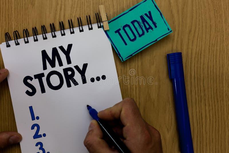 Texto de la escritura de la palabra mi historia Concepto del negocio para decir alguien o a lectores sobre cómo usted vivió su ho foto de archivo