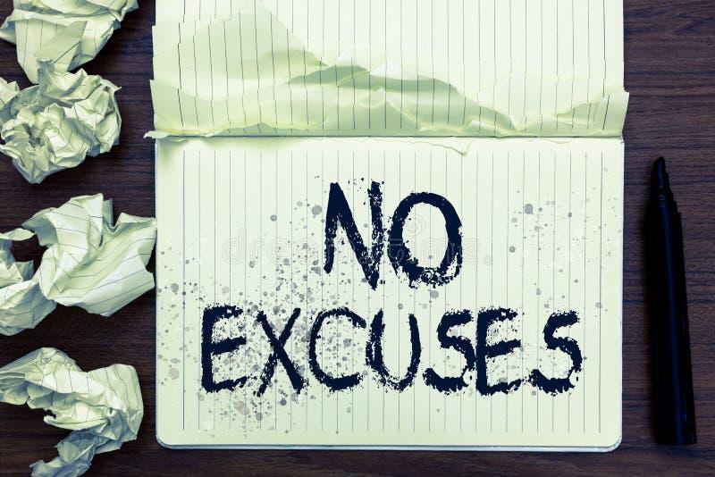 Texto de la escritura de la palabra ningunas excusas Concepto del negocio para decir alguien no decir a problema de las razones c foto de archivo
