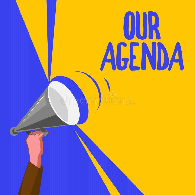 Texto de la escritura de la palabra nuestro orden del día Concepto del negocio para la organización personal del calendario del p libre illustration