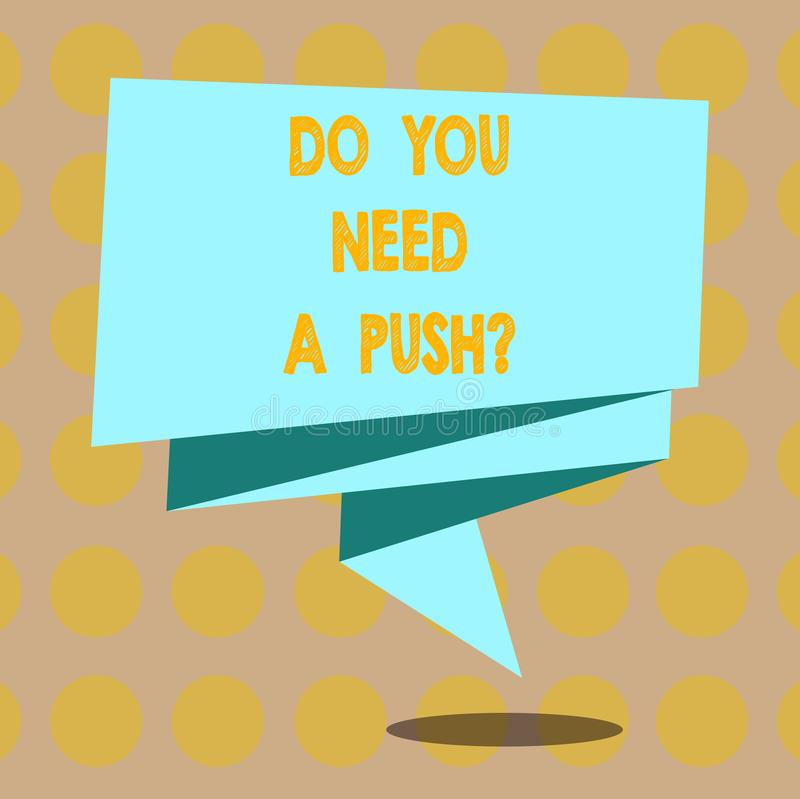 Texto de la escritura de la palabra usted necesita un Pushquestion El concepto del negocio para nos dice que si usted puede utili libre illustration
