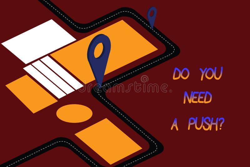 Texto de la escritura de la palabra usted necesita un Pushquestion El concepto del negocio para nos dice si usted puede utilizar  ilustración del vector