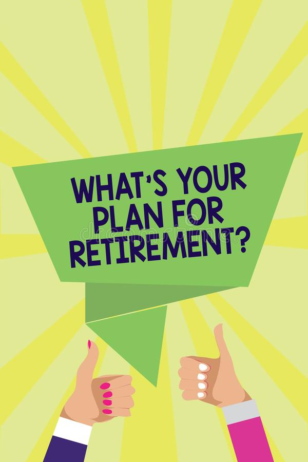Texto de la escritura qué s es su plan para la pregunta del retiro Los ancianos de la pensión de los ahorros del significado del  ilustración del vector