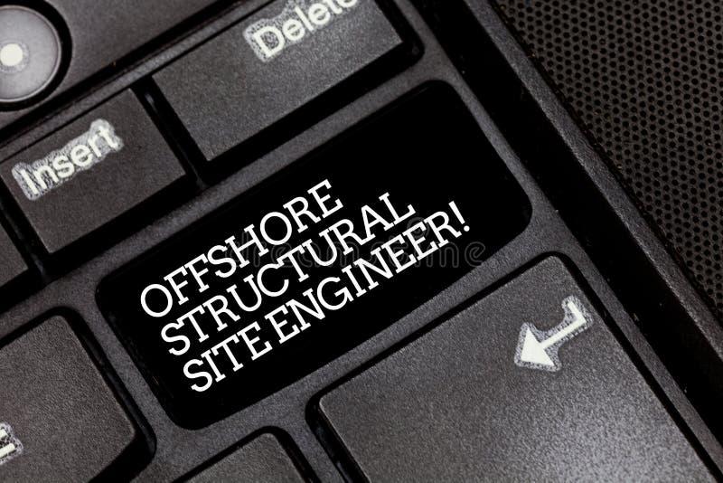 Texto de la escritura que escribe al ingeniero estructural costero del sitio Concepto que significa el teclado de ingeniería de l imagen de archivo