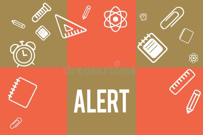 Texto de la escritura que escribe alarma Concepto que significa una advertencia de la señal del aviso del peligro el estado de se stock de ilustración