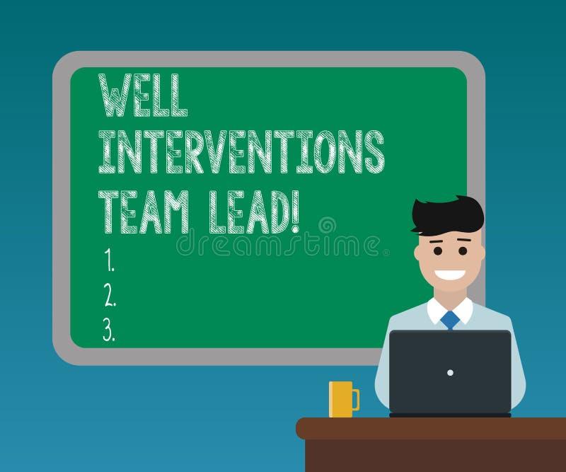 Texto de la escritura que escribe bien las intervenciones Team Lead Concepto que significa el espacio en blanco de la ingeniería  ilustración del vector