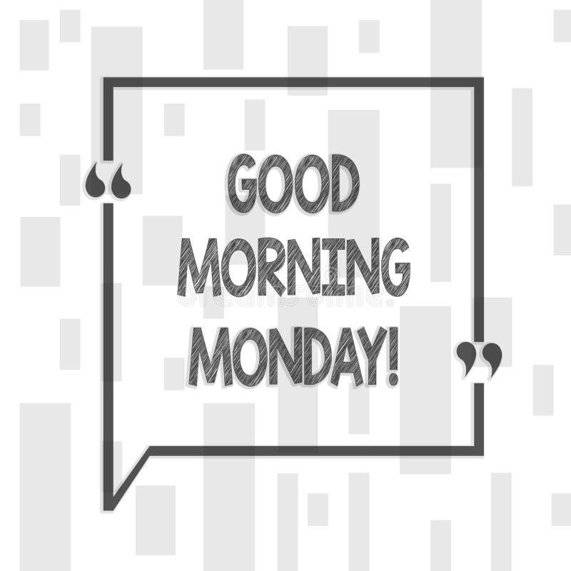 Texto de la escritura que escribe la buena mañana lunes Desayuno enérgico de la positividad feliz del significado del concepto stock de ilustración