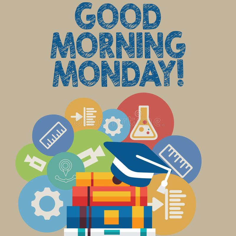 Texto de la escritura que escribe la buena mañana lunes Desayuno enérgico de la positividad feliz del significado del concepto libre illustration
