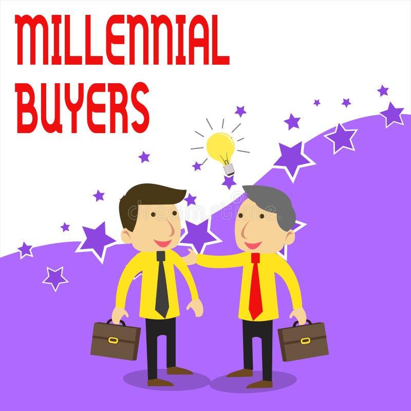 Texto de la escritura que escribe a compradores milenarios Tipo del significado del concepto de consumidores que est?n interesado stock de ilustración