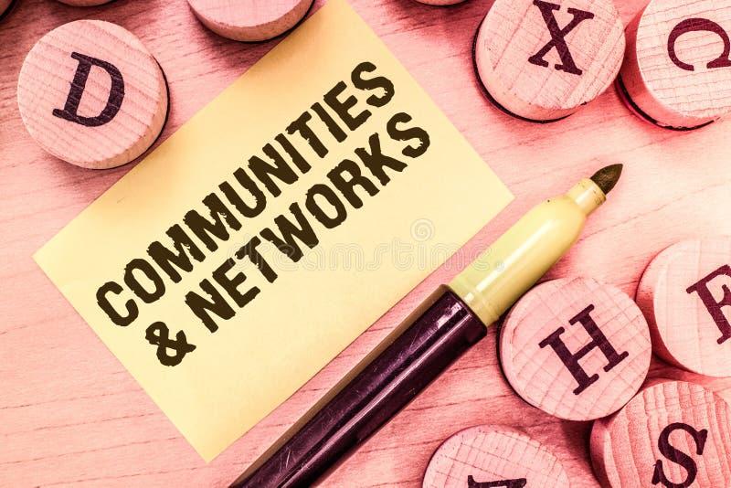 Texto de la escritura que escribe comunidades y redes Colaboración del significado del concepto de aprendizajes y prácticas de mi imagenes de archivo