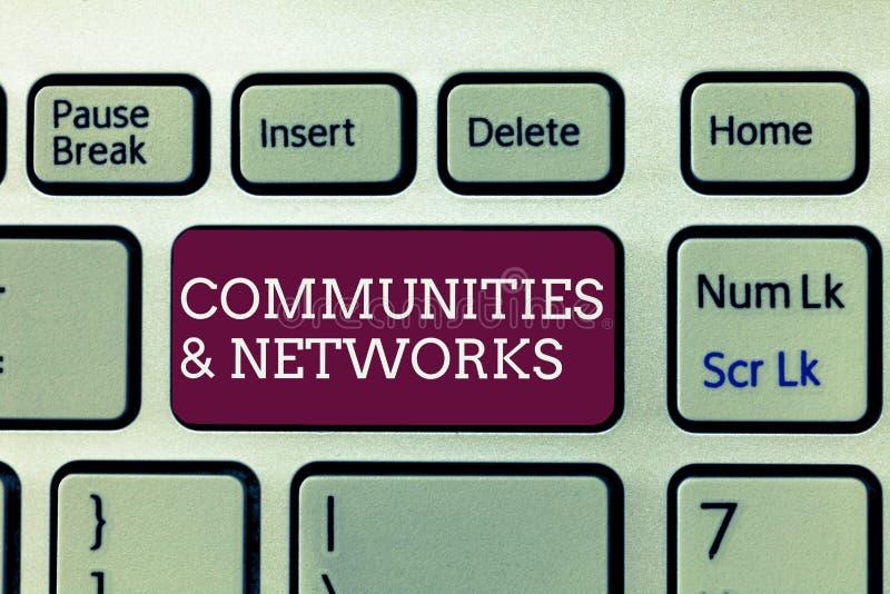 Texto de la escritura que escribe comunidades y redes Colaboración del significado del concepto de aprendizajes y prácticas de mi foto de archivo libre de regalías