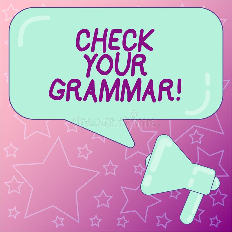 Texto de la escritura que escribe a control su gramática El corregir de deletreo del contexto de la puntuación de la corrección d ilustración del vector