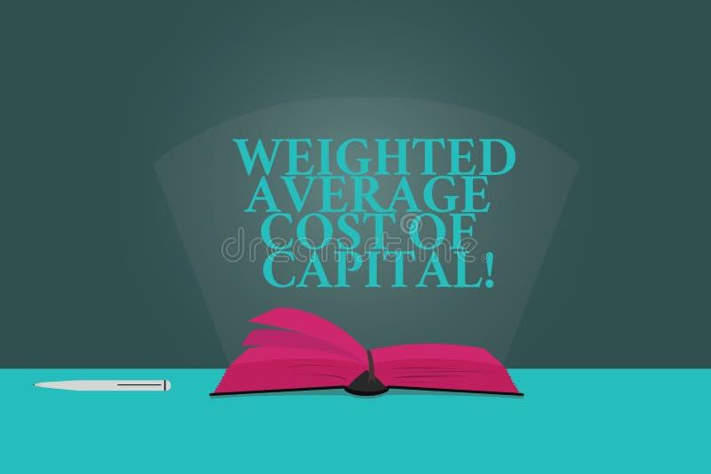 Texto de la escritura que escribe el coste de media ponderada de capital El concepto que significa indicadores financieros del ne imagen de archivo