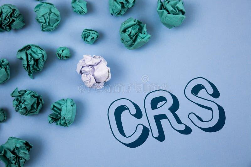 Texto de la escritura que escribe el CRS Concepto que significa el estándar común de la información para compartir la información imágenes de archivo libres de regalías