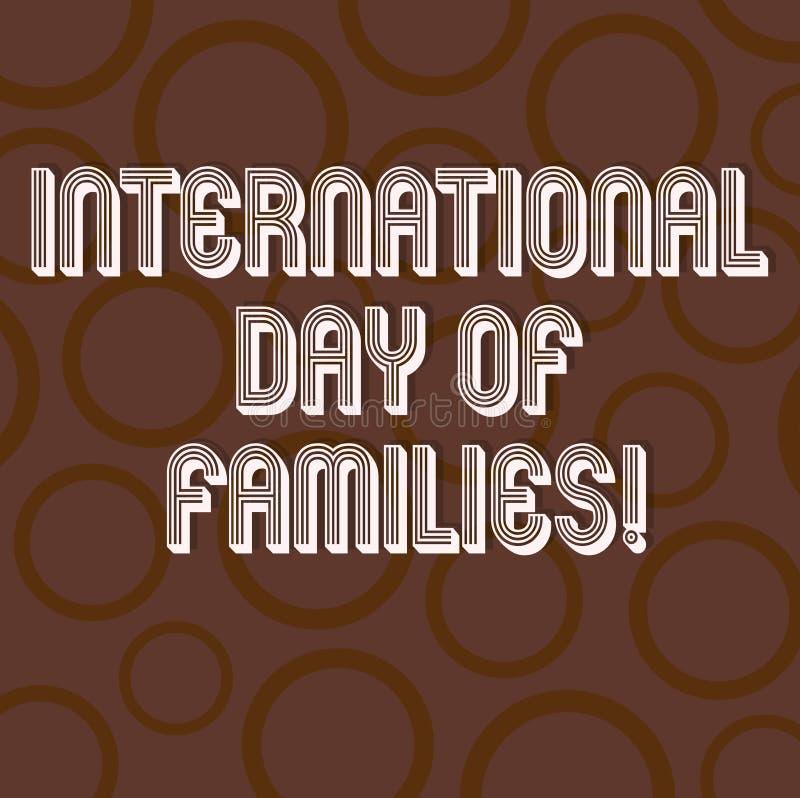 Texto de la escritura que escribe el día internacional de familias Anillo del círculo de la celebración de la unidad del tiempo d ilustración del vector
