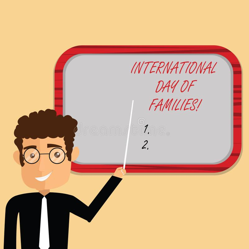 Texto de la escritura que escribe el día internacional de familias Tenencia de la situación del hombre de la celebración de la un ilustración del vector
