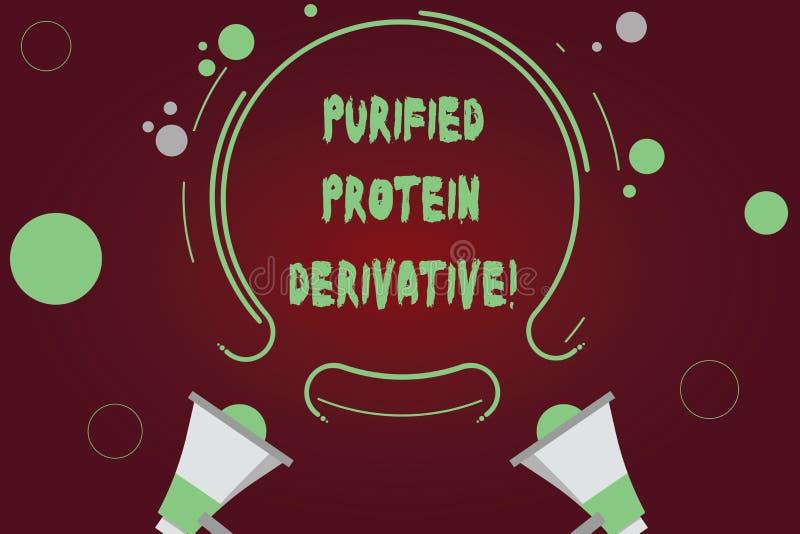 Texto de la escritura que escribe el derivado purificado de la proteína Concepto que significa el extracto de megáfono de la tube ilustración del vector