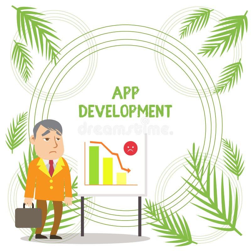 Texto de la escritura que escribe el desarrollo del App Servicios del desarrollo del significado del concepto para las experienci ilustración del vector