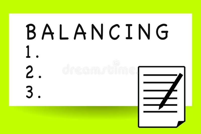 Texto de la escritura que escribe el equilibrio El significado del concepto puso algo en una posición constante de modo que no ba fotografía de archivo