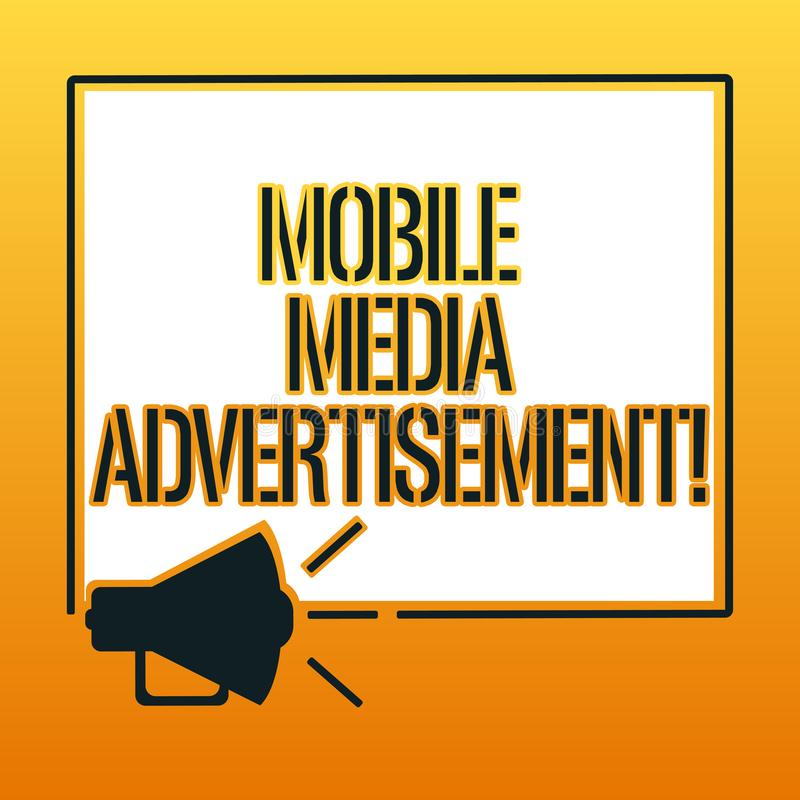 Texto de la escritura que escribe el medios anuncio móvil Publicidad del significado del concepto vía los teléfonos móviles u otr ilustración del vector