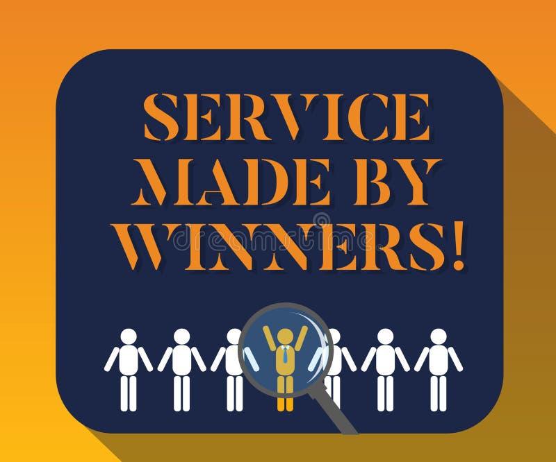 Texto de la escritura que escribe el servicio hecho por los ganadores Lupa acertada excelente de la ayuda de la buena ayuda del s ilustración del vector