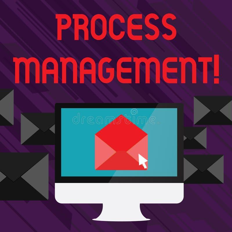 Texto de la escritura que escribe la gestión del proceso El significado del concepto que alinea procesos con una organización s e ilustración del vector