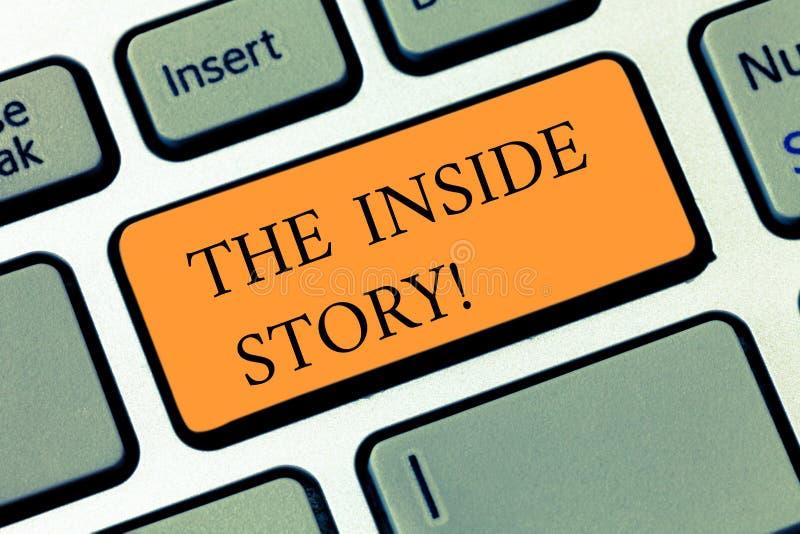Texto de la escritura que escribe la historia interior Concepto que significa la información que es solamente el mostrar sabido i foto de archivo libre de regalías