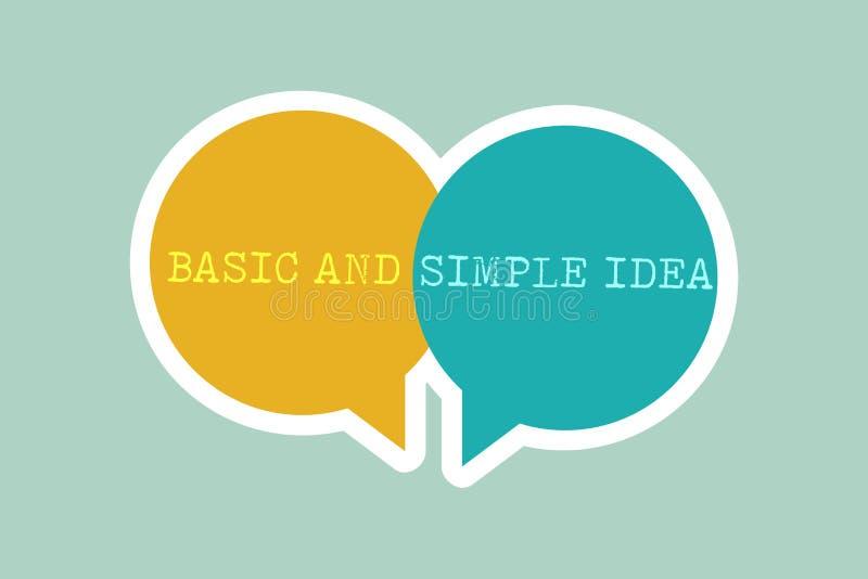 Texto de la escritura que escribe idea básica y simple Concepto que significa imágenes mentales o sugerencias llanas una opinión  stock de ilustración