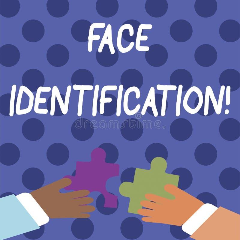 Texto de la escritura que escribe la identificación de la cara El significado del concepto que analiza los modelos basados en el  stock de ilustración