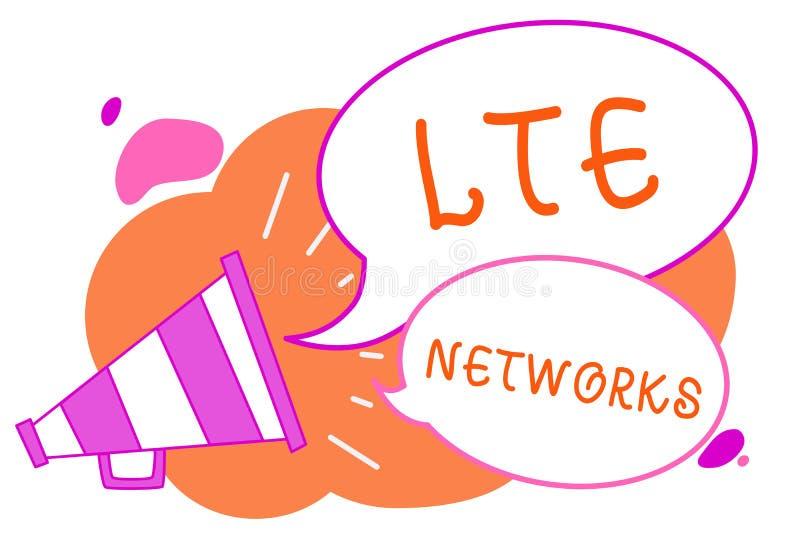 Texto de la escritura que escribe las redes de Lte Concepto que significa la conexión de red más rápida disponible para el megáfo libre illustration