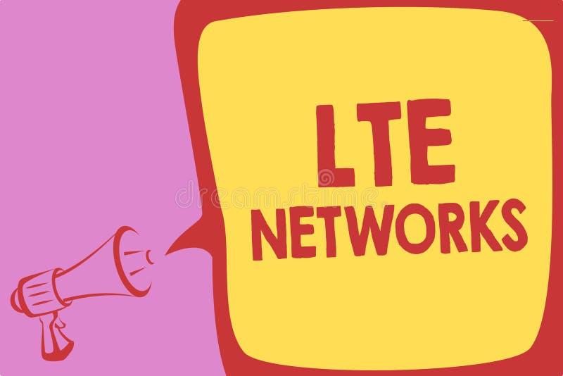 Texto de la escritura que escribe las redes de Lte Concepto que significa la conexión de red más rápida disponible para el megáfo ilustración del vector