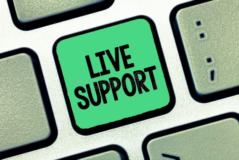 Texto de la escritura que escribe a Live Support Servicio web del significado del concepto que permite que los visitantes comuniq fotografía de archivo