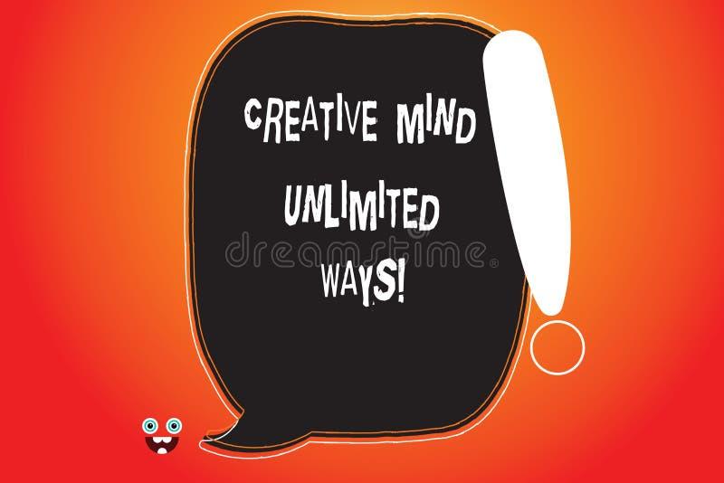 Texto de la escritura que escribe a mente creativa maneras ilimitadas El concepto que significa creatividad trae porciones de esp ilustración del vector