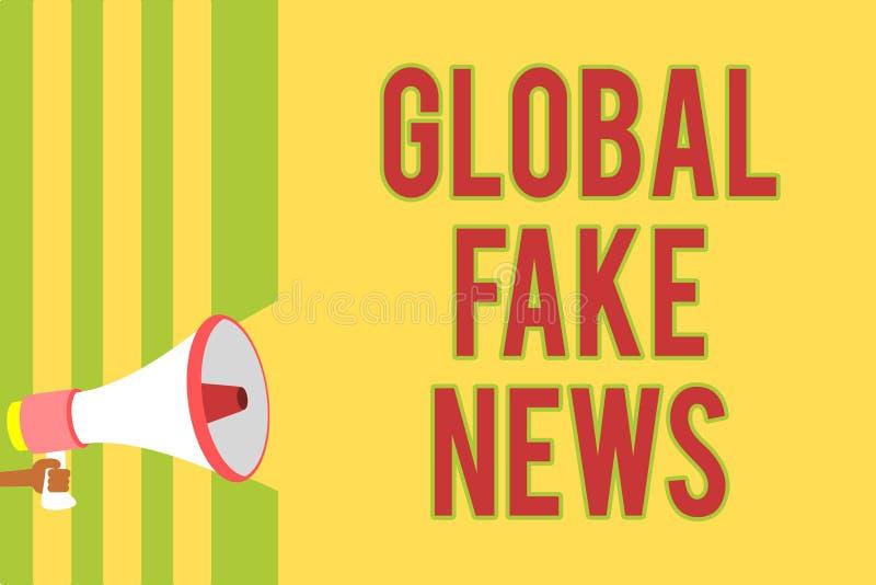 Texto de la escritura que escribe noticias falsas globales Concepto que significa las líneas múltiples sc de la información del p libre illustration