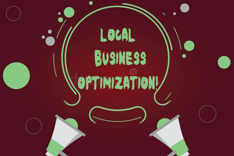 Texto de la escritura que escribe la optimización local del negocio El significar del concepto promueve productos y servicios a l ilustración del vector