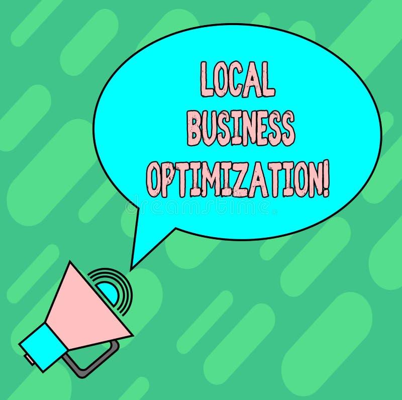 Texto de la escritura que escribe la optimización local del negocio El significar del concepto promueve productos y servicios a l libre illustration