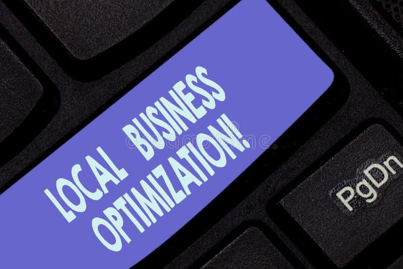 Texto de la escritura que escribe la optimización local del negocio El significar del concepto promueve productos y servicios a l stock de ilustración