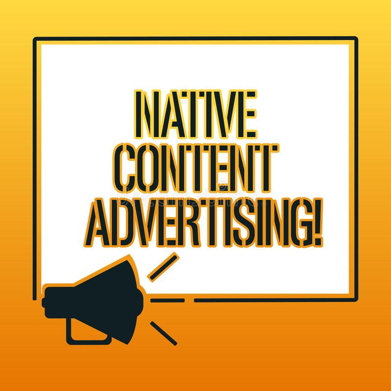 Texto de la escritura que escribe la publicidad contenta nativa La experiencia del anuncio del significado del concepto sigue la  libre illustration