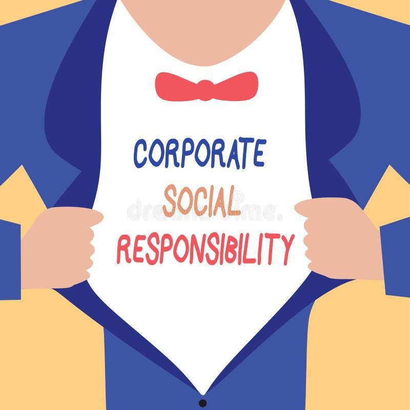 Texto de la escritura que escribe responsabilidad social corporativa Concepto que significa la política y la estrategia corporati stock de ilustración