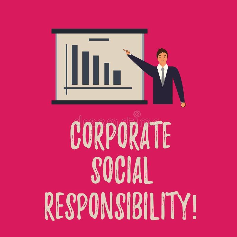 Texto de la escritura que escribe responsabilidad social corporativa Hombre de organización interno de la política o de la estrat ilustración del vector
