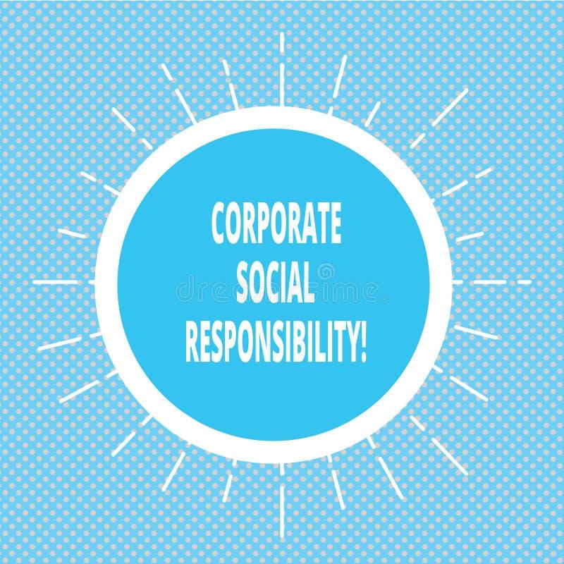 Texto de la escritura que escribe responsabilidad social corporativa Política o estrategia de organización interna del significad ilustración del vector