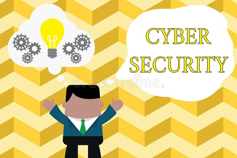 Texto de la escritura que escribe seguridad cibern?tica El significado del concepto protege un sistema informático contra la situ stock de ilustración