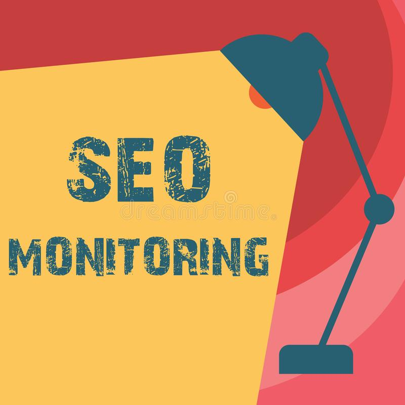 Texto de la escritura que escribe a Seo Monitoring Significado del concepto que sigue el progreso de la estrategia hecho en la pl imágenes de archivo libres de regalías