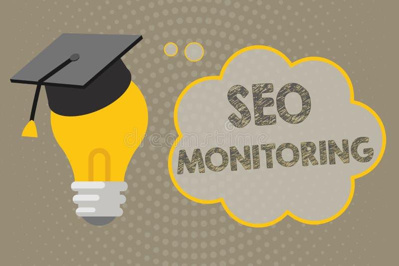 Texto de la escritura que escribe a Seo Monitoring Significado del concepto que sigue el progreso de la estrategia hecho en la pl stock de ilustración