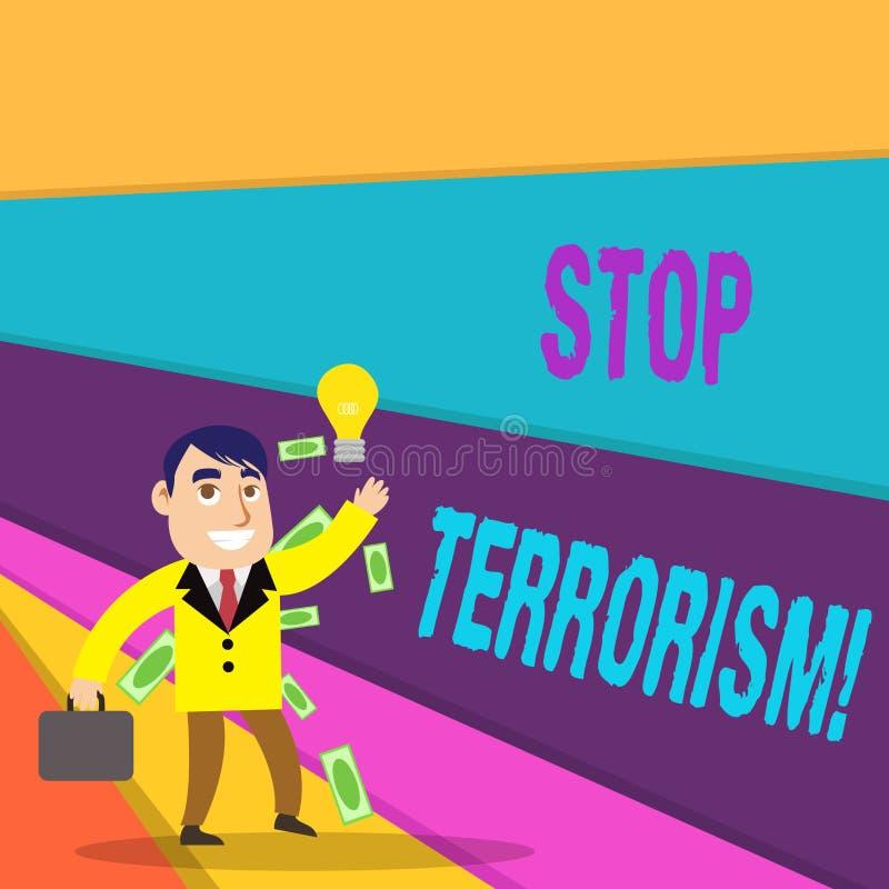 Texto de la escritura que escribe terrorismo de la parada Significado del concepto que resuelve los problemas excepcionales relac stock de ilustración
