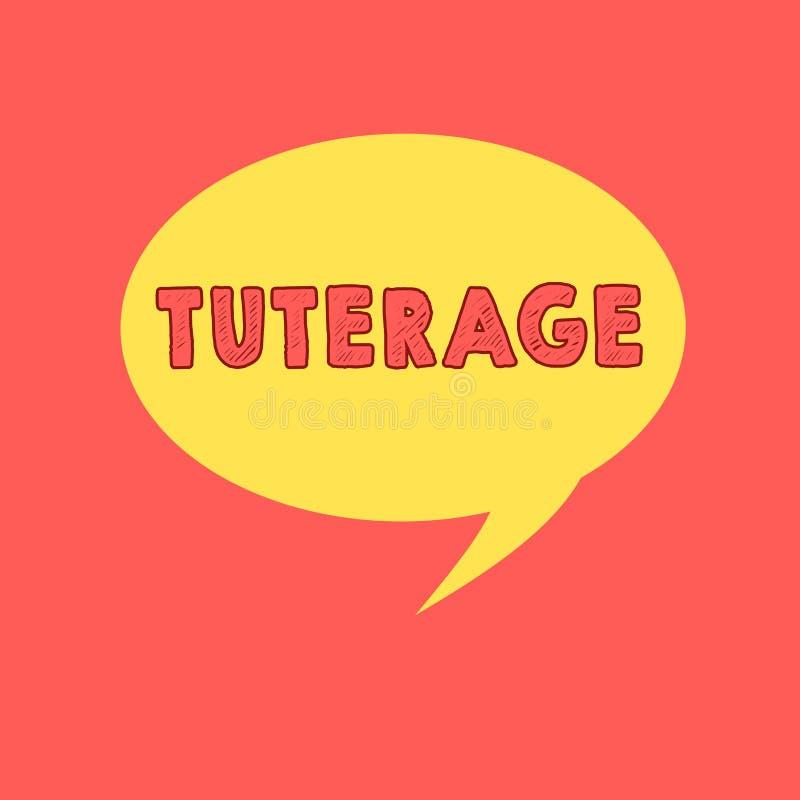 Texto de la escritura que escribe Tuterage Concepto que significa la protección de o la autoridad sobre alguien o algo burbuja de stock de ilustración