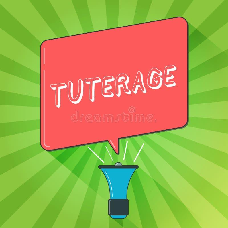 Texto de la escritura que escribe Tuterage Concepto que significa la protección de o la autoridad sobre alguien o algo tutela stock de ilustración