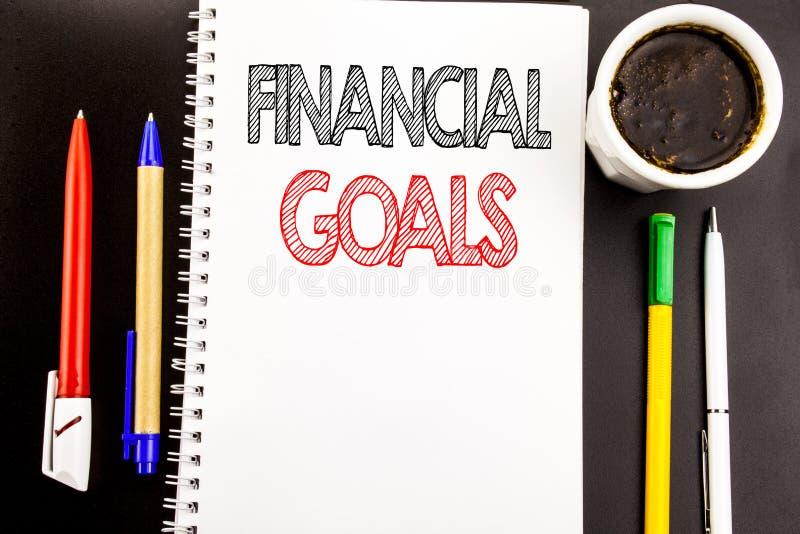 Texto de la escritura que muestra metas financieras Concepto del negocio para el plan del dinero de la renta escrito en fondo del imagen de archivo