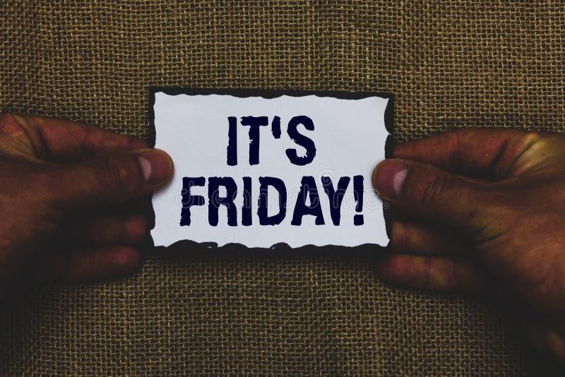 Texto de la escritura s es viernes El concepto que significa el día pasado de la semana laboral antes de sábado o los fines de se imagen de archivo
