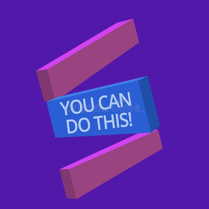 Texto de la escritura usted puede hacer esto Impaciencia y buena voluntad del significado del concepto de superar desafíos en vid stock de ilustración