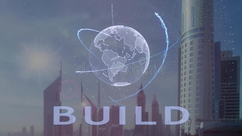 Texto de la estructura con el holograma 3d de la tierra del planeta contra el contexto de la metr?poli moderna libre illustration